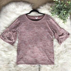 Loft Blush Pink Cozy Bell Sleeve Top
